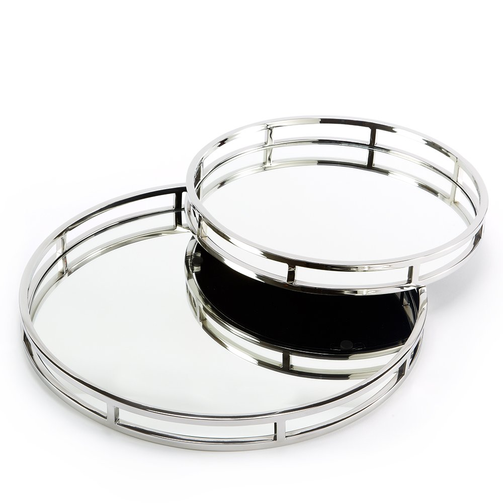 Two's Company Round Mirrored Trays, Set of 2