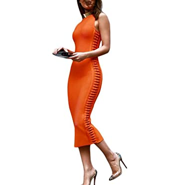Thankstop dress Womens Dresses 2018 Summer Orange Side Weave Midi Vestidos Bandage Dresses