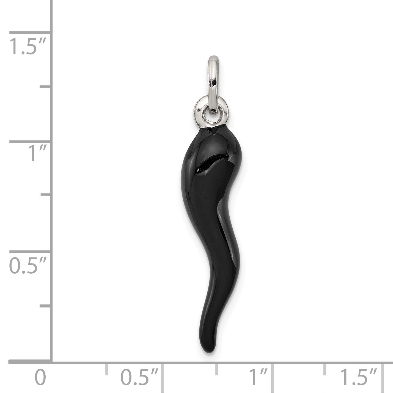 Black Enamel Italian Horn Charm in 925 Sterling Silver 33x7mm