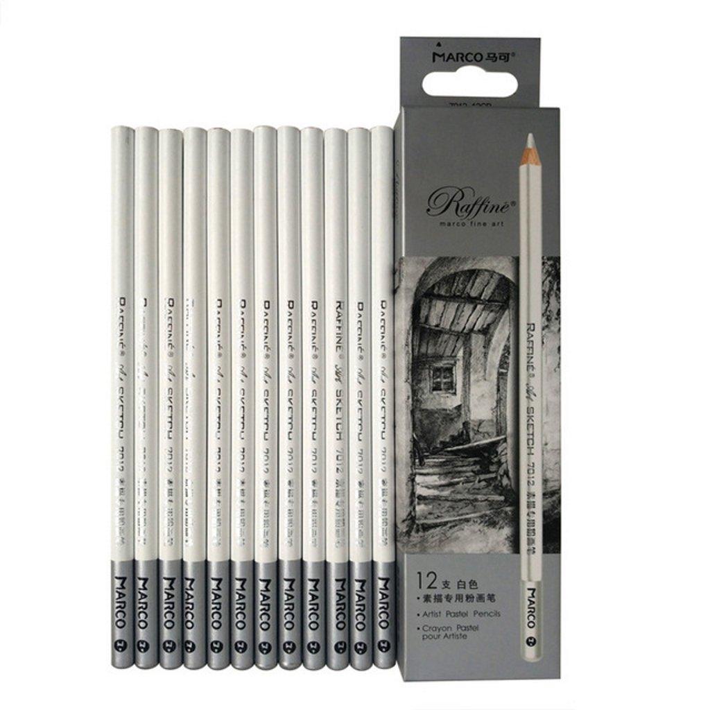 White Charcoal drawing pencils set Sketch Pencils 12pcs White Charcoal Pencils Non-toxic Drawing Pencils Tools Set for Fine Art Supplies (White) NYONI 7012-12CB