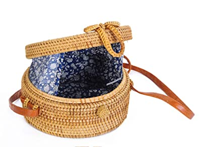 Round Rattan Boho Purse Handwoven Straw Bag Bamboo Bag (blue floral lining)