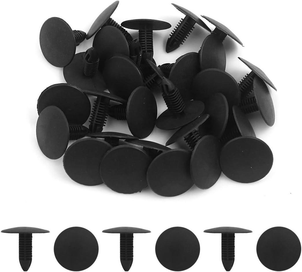 uxcell 30Pcs Black Plastic Rivets Push Type Bumper Fender Moulding Clips 6 x 5.5mm