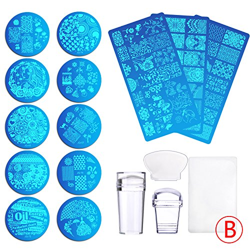 Biutee 13Pcs Flower Forest Image Nail Plates + 2 Stamper Scraper Sets Nail Art Stamping Plates Nail Stamp Plate Nail Art Tools