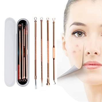 4pcs Acne Blackhead Remover Needles Set Rose Gold Double Head Pimples Multipurpose Cleansing Tool by Rubyshop