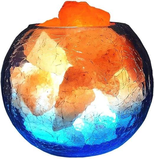 WHYA Colorido Himalaya Natural Pequeña Luz de noche Mina Piedra Hielo Fuego Sal Azul Artístico Lámpara de mesa Color Dimmable Decoración de cabecera Ion negativo Luz de escritorio Estudio de salud Reg: