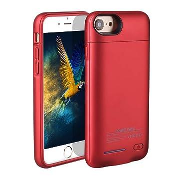 HOTSO 3000mAh Carcasa Batería Funda Magnética, 4,7 Pulgadas Batería Externa Recargable Cargador de Banco Energía de Móvil para iPhone 6/6s/7/8 (Rojo)