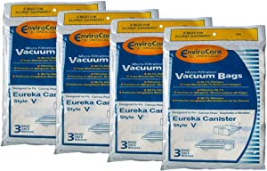 TVP Eureka Vacuum Cleaner Bag Style V for Canister 52358, 576898, 52358A, 6865, 54923-10 Models 12PK # 154