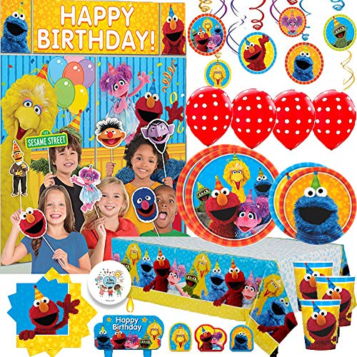 Mega Sesame Street Birthday Party Supplies Pack For 16 Guest With Dinner and Dessert Plates, Napkins, Cups, Tablecover, Candle, Scene Setter and Photo Props, Swirls, Balloons, Candles, and