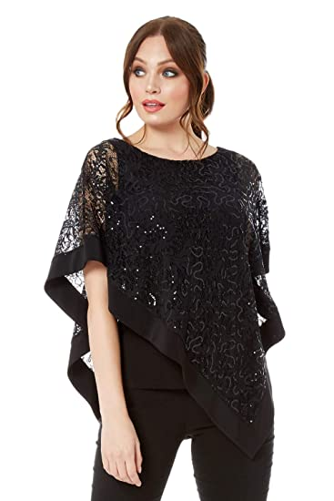 6a788cb392786d Roman Originals Lace Sequin Overlay Short Sleeve Top - Ladies Boat Neck Tops  for Party Formal Smart Special Occasion Wear Fashion: Amazon.co.uk: Clothing