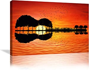 Urttiiyy Modern Music Abstract Guitar Tree Lake Sunset Art Canvas Painting Living Room Decorating Painting Home Decor HD Printed Artwork Poster Framed Ready to Hang