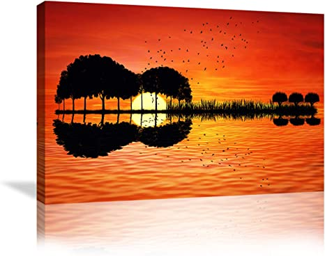 Amazon Com Urttiiyy Music Abstract Guitar Tree Lake Sunset Art Canvas Painting Living Room Decorating Painting Home Decor Hd Printed Artwork Poster Framed Ready To Hang 36 Wx24 H Guitar Artwork Home Kitchen