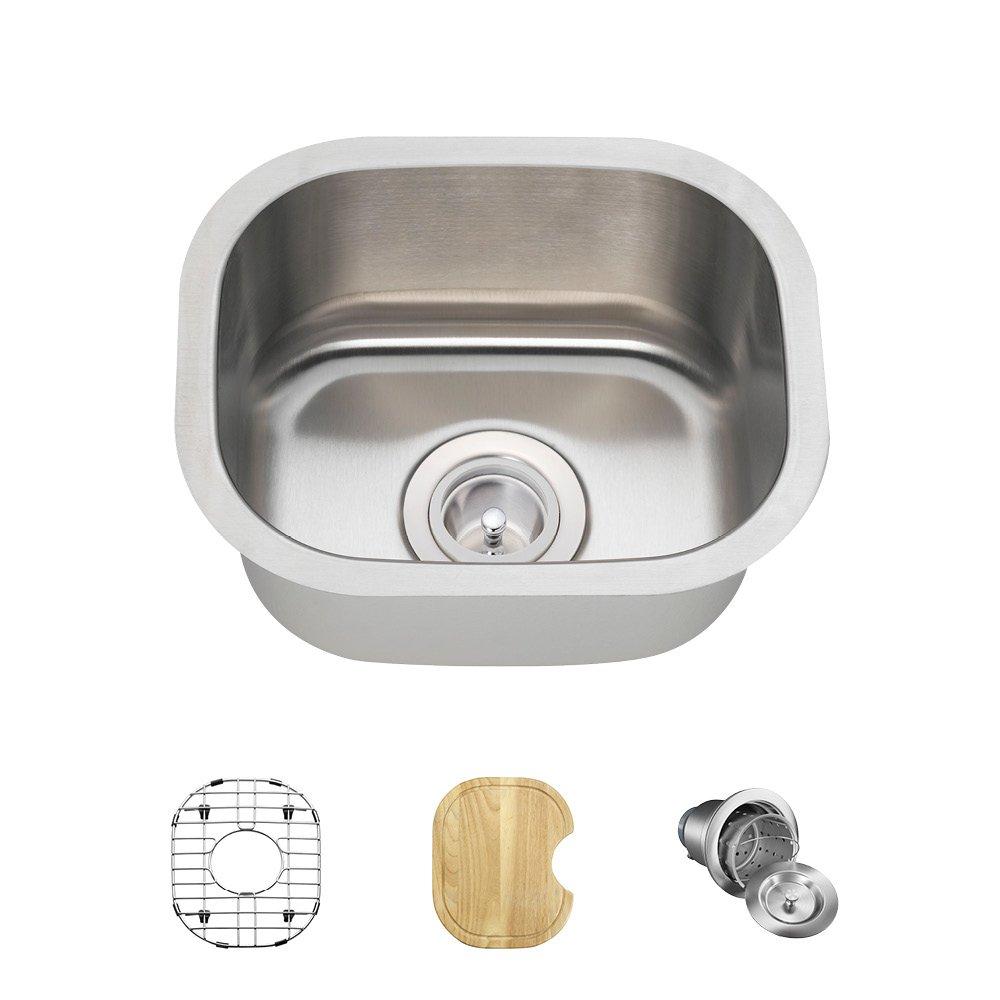 1512 18-Gauge Undermount Single Bowl Stainless Steel Bar Sink MR Direct 1512-18