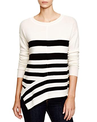 298ce8ed768 C By Bloomingdale's Womens Striped Asymmetric Cashmere Sweater ...