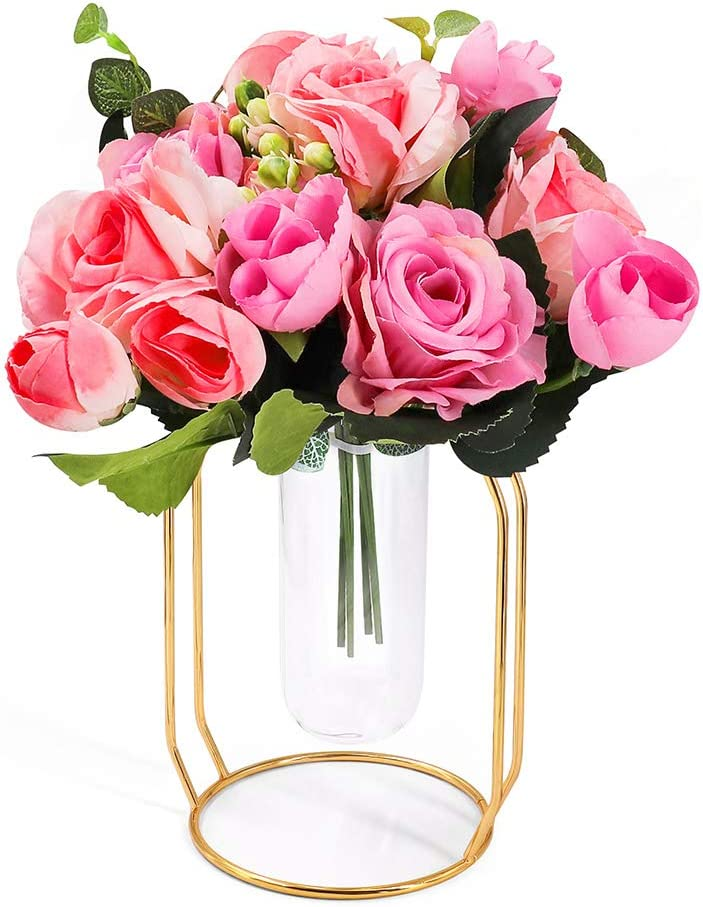 ANZOME Artificial Silk Rose Arrangement Fake Pink Brazil Roses Bouquet in Gold Vase Set Realistic Faux Flowers for Dorm Office Home Wedding Party Decor Table Centerpieces