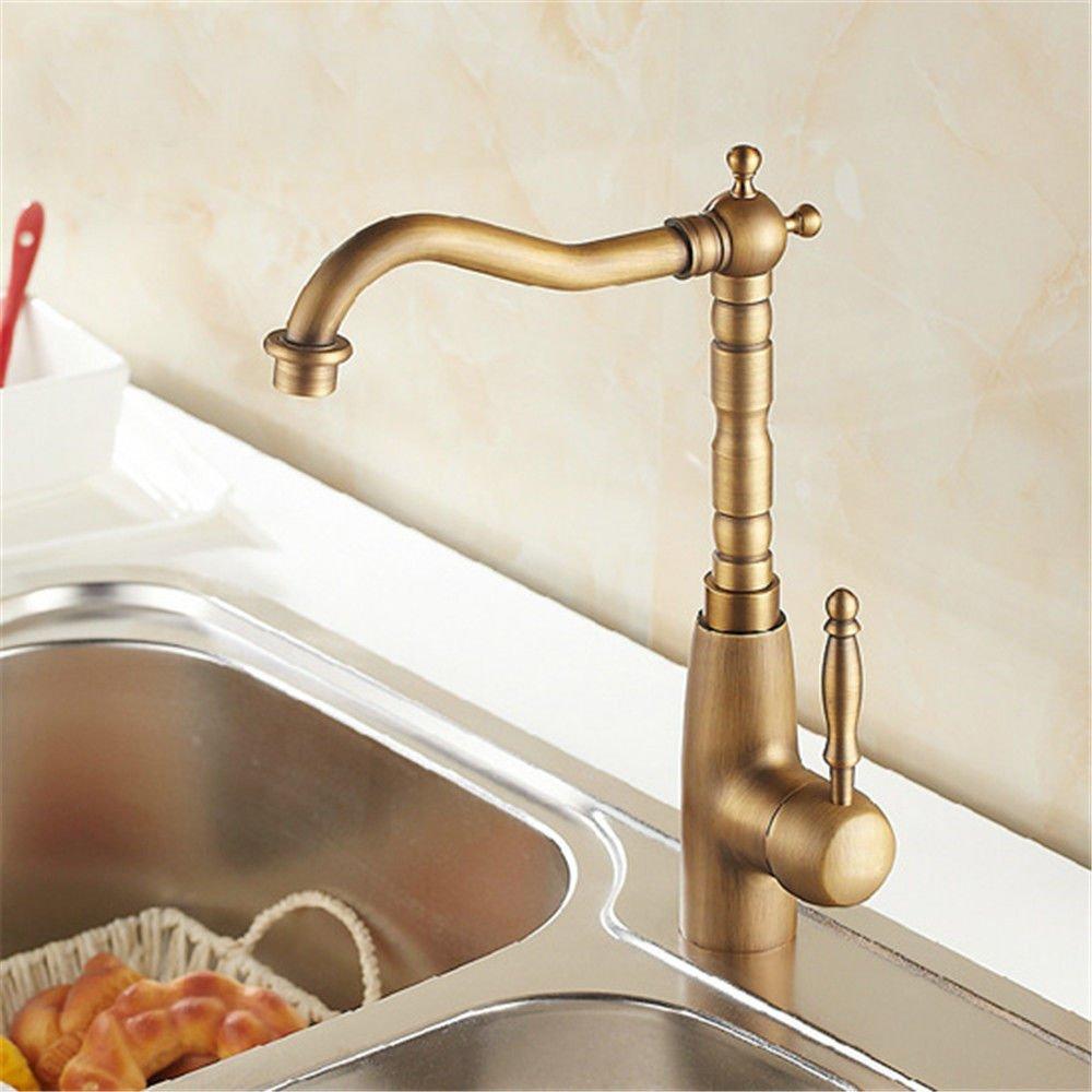 MEIBATH Waschtischarmatur Badezimmer Waschbecken Wasserhahn Küchenarmaturen Messing antik Warmes und Kaltes Wasser Ventil drehbare Hebel Küchen Wasserhahn Badarmatur