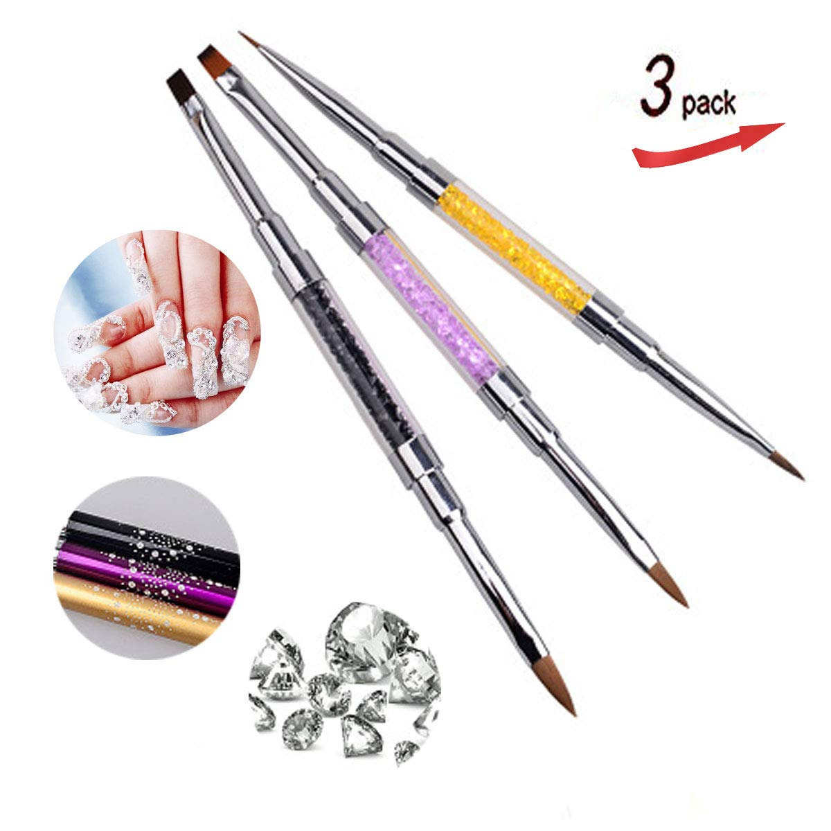 3PCS 2 in 1 Acrylic Nail Brush for 3D Nail Art Design DIY Manicure Pedicure Tips Dual Head Brush Rhinestone Handle Professional Nail Art Tools by VOLODIA
