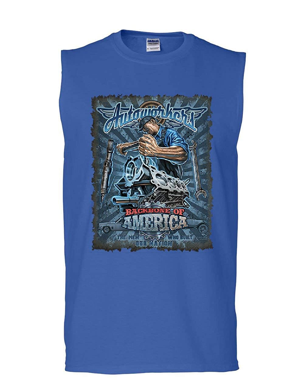 Autoworkers Backbone of America Muscle Shirt Car Motor Mechanic Union Sleeveless