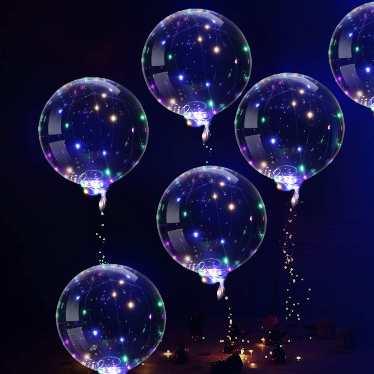 couleur ledmomo ballons LED Ballons Lumineux 20/pouces ballons transparents clignotant avec fil de cuivre de 3/m et barre lumineuse LED