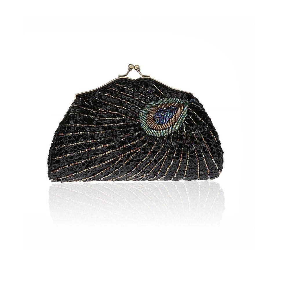 2017 Fashion Women Full Shining Sequins Handbag Beaded Peacock Embroidery Clutch Rhinestone Purse Evening Bag