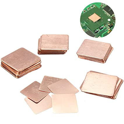 Kalolary IC Chipset GPU CPU Thermal Heatsink Copper Pad Shims 25 Pcs 5  Sizes 15x15mm for Cooling Laptop Copper Heatsink