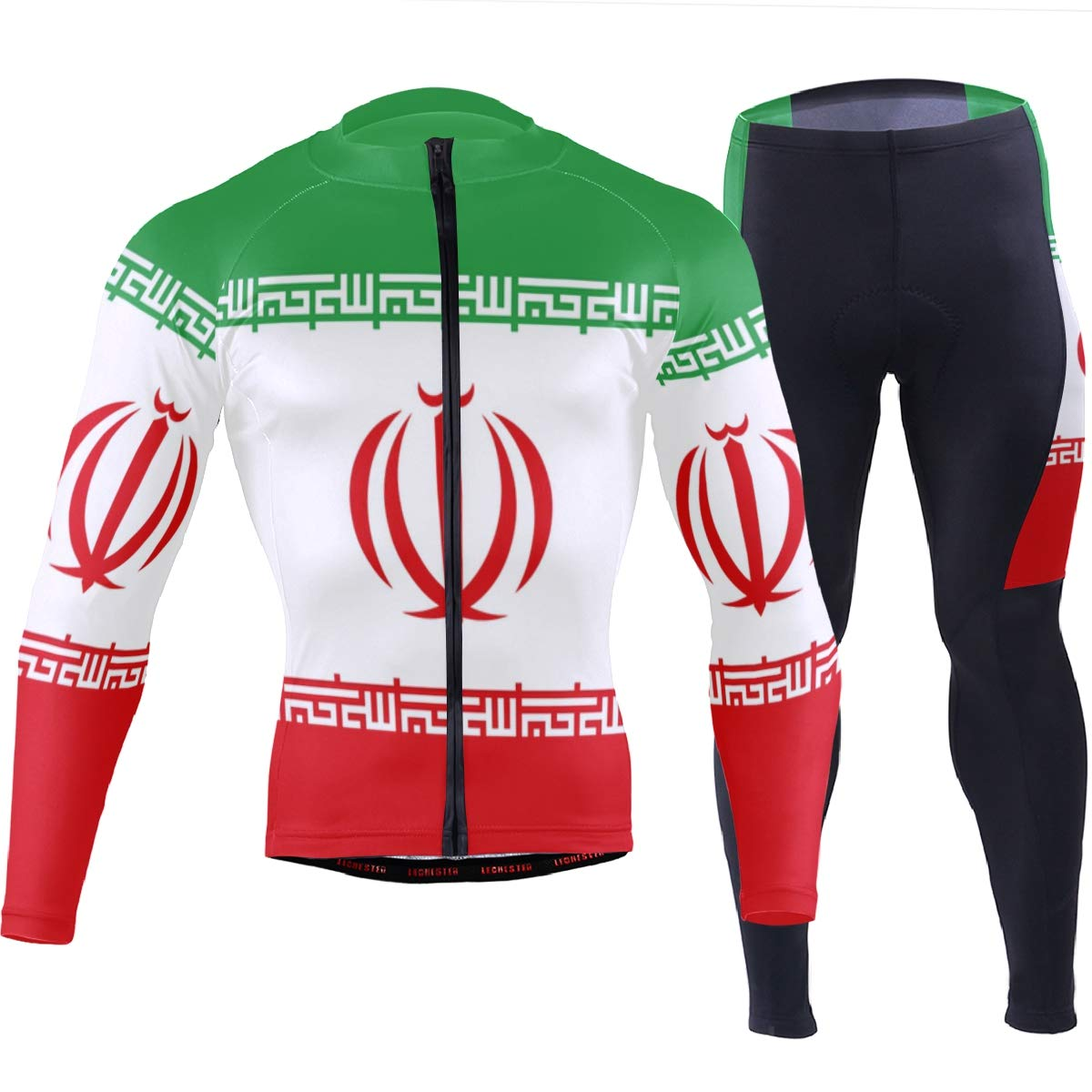 CHINEIN Men's Cycling Jersey Long Sleeve with 3 Rear Pockets Suit Iran Flag