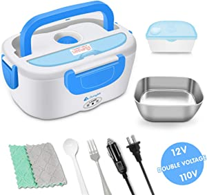 Simyke Electric Lunch Box Food Heater Car Use 12V and Home Use 110V Portable Lunch Heater with Removable Stainless Steel Container 40W
