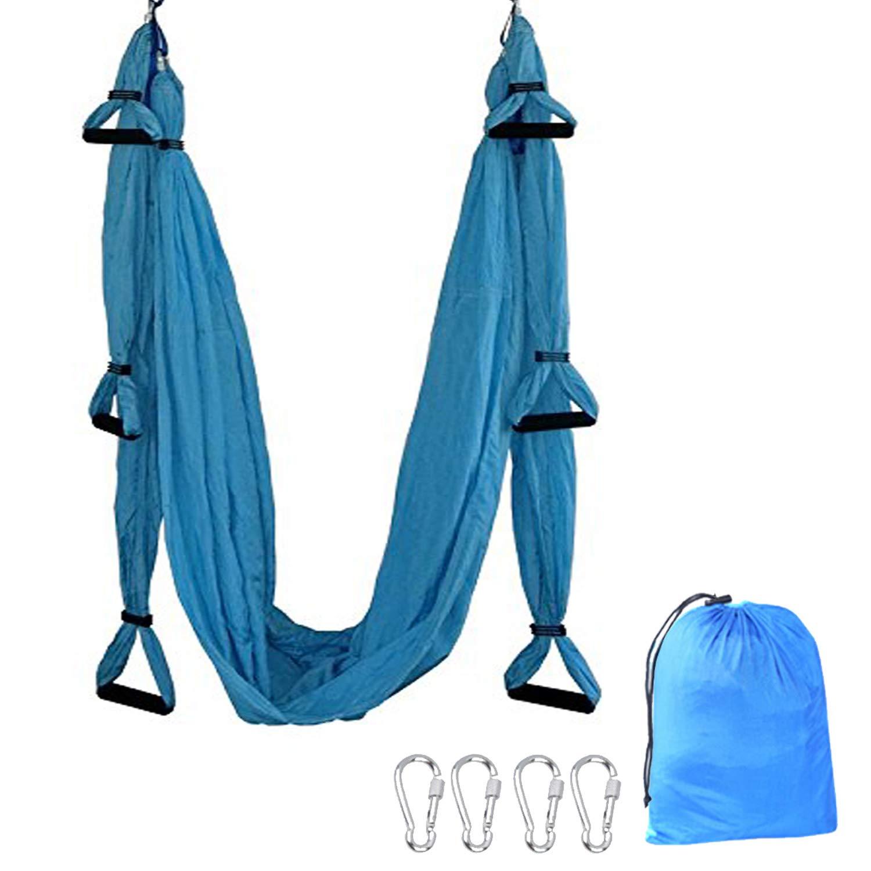 TDRTECH Aerial Yoga Swing, Hanging Yoga Trapeze/Hammock/Sling - Antigravity Inversion Swing for Beginners & Kids (Blue)