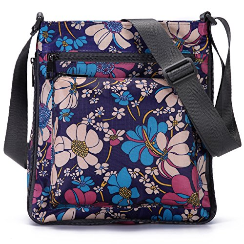 Adjustable with Mutil STUOYE Crossbody Pocket Zipper Sun Purple Purse Flower Bag Nylon gx0gqH1wY