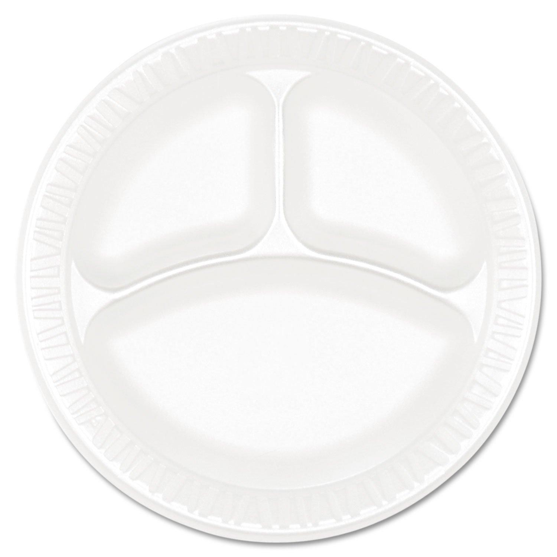 Dart 9CPWCR 9 in White Unlaminated Foam 3 Comp Plate (Case of 500)