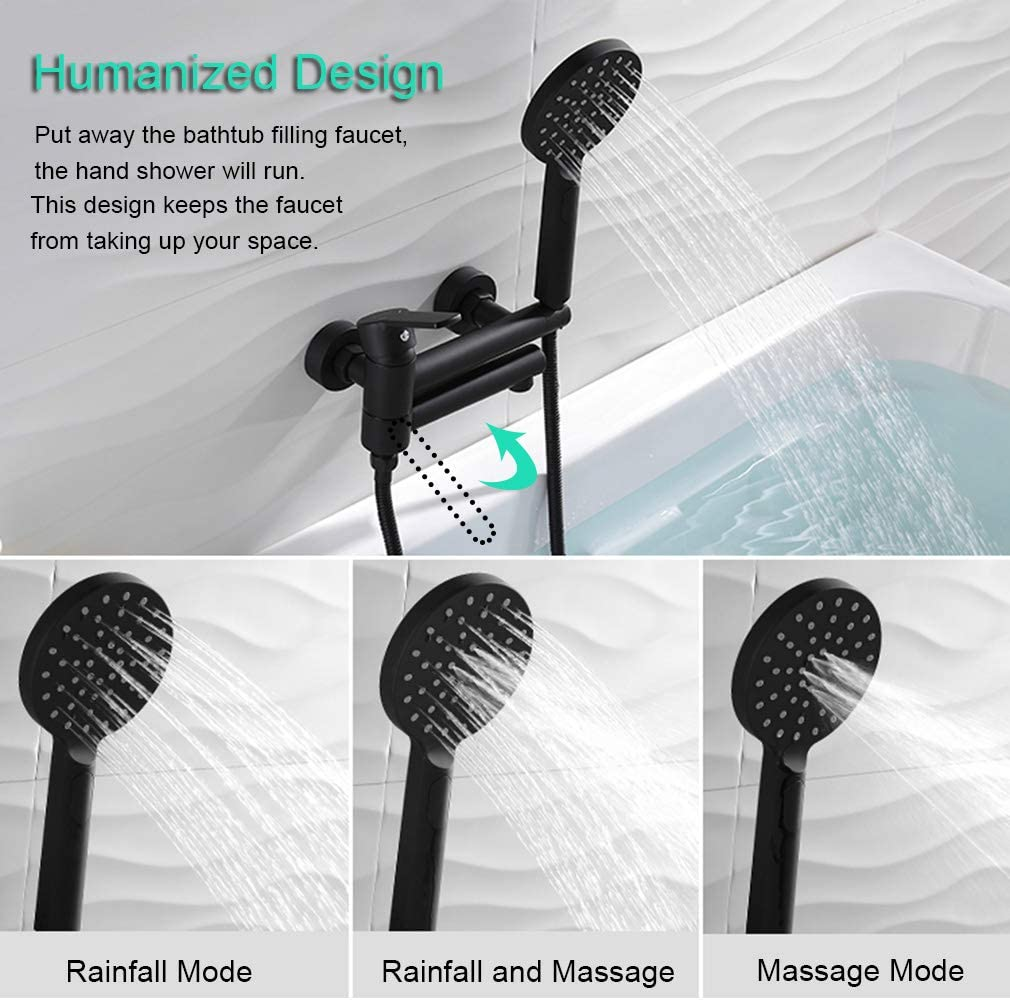 PHASAT Tub Faucet with Hand Shower Wall Mount Bathtub Faucet Multifunction Black Mixer Tap Shower Faucet Solid Brass PTBT00C