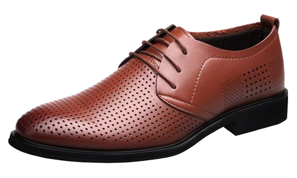 Men's Summer Breathable Lace-up Derby Leather Dress Shoes Bussiness Footwear(6.5, Brown)