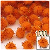 The Crafts Outlet Chenille Sparkly Pom Poms, Orange porcupine, 1.0-inch (25-mm), 1000-pc, Orange