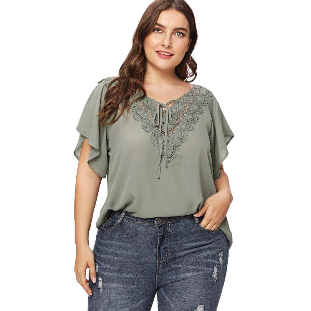GMHO Women's Plus Size Crochet Insert V-Neck Short Sleeve Peplum Top Blouse Shirts (Grey Green, 2XL)