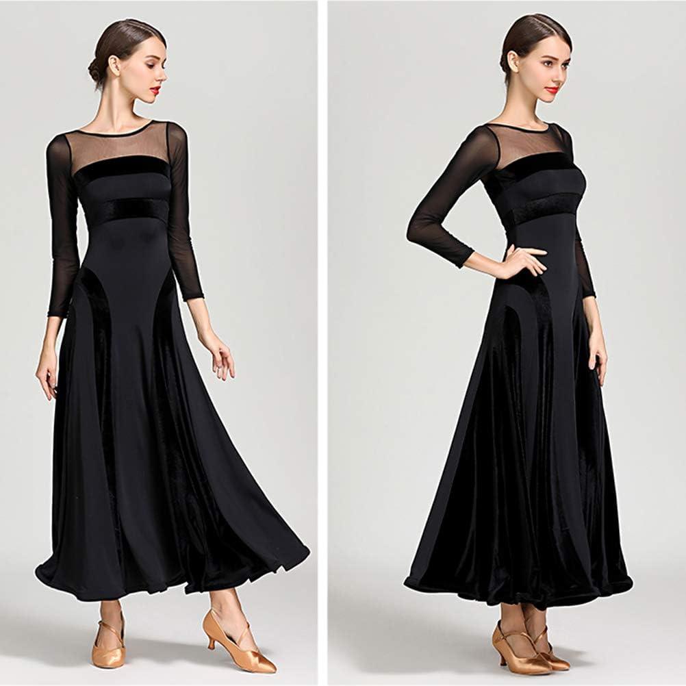Women Velvet Long-Sleeved Ballroom Salsa Latin Modern Dance Dresses Dance Tops Costumes