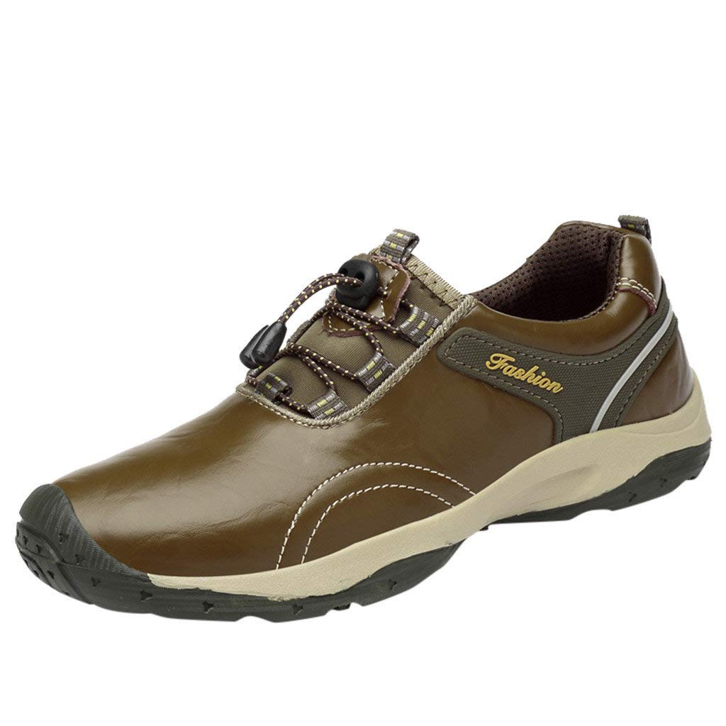 DondPO Men's Sport Leather Shoes Fashion Casual Hiking Shoes Non-Slip Shoes Gray