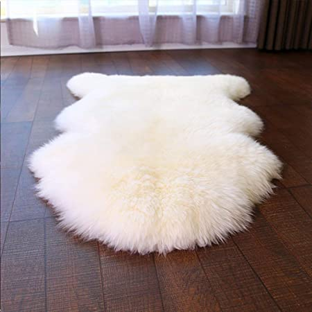 HEQUN Faux Fur Sheepskin Style Rug Faux Fleece Chair Cover Seat Pad Soft Fluffy Shaggy Area Rugs For Bedroom Sofa Floor (White, 75 X 120 CM)