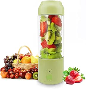 KAINUOWEI Personal Portable Blender,420ml Glass Juicer Cup/USB Rechargeable Small Blender,Fruit/Shakes/Smoothies/Baby Food Mixer with Travel Lid/Sport Bottle,Used as Power Bank for Cellphone (Green)