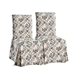 Cheap Toile Dining Chair Slipcovers (Set of 2) Black on Beige
