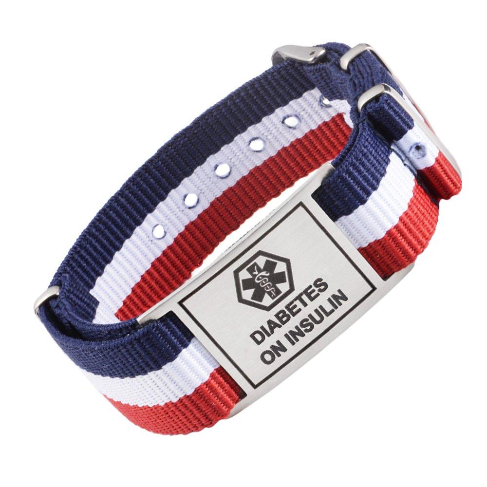 PRE-ENGRAVED deporte rojo lienzo Medical ID pulseras Fro Boy y girls-stainless acero ID Etiquetas Tarring E0-YCSD-RJAU