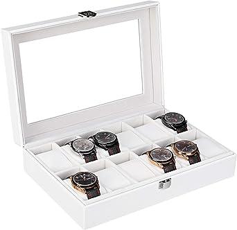 Femor Caja Relojes para 12 relojes, Guarda Relojes/Estuche con Cojín de Cuero de PU, Almacenamiento de Reloj con Cerradura(Blanco): Amazon.es: Relojes