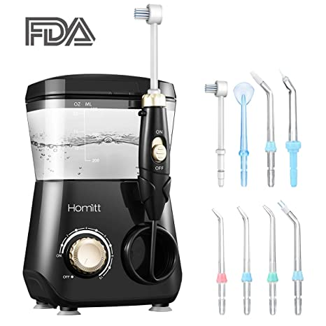 Irrigador oral profesional, Tanque de agua de 600 ml con 7 boquillas y 1 cepillo
