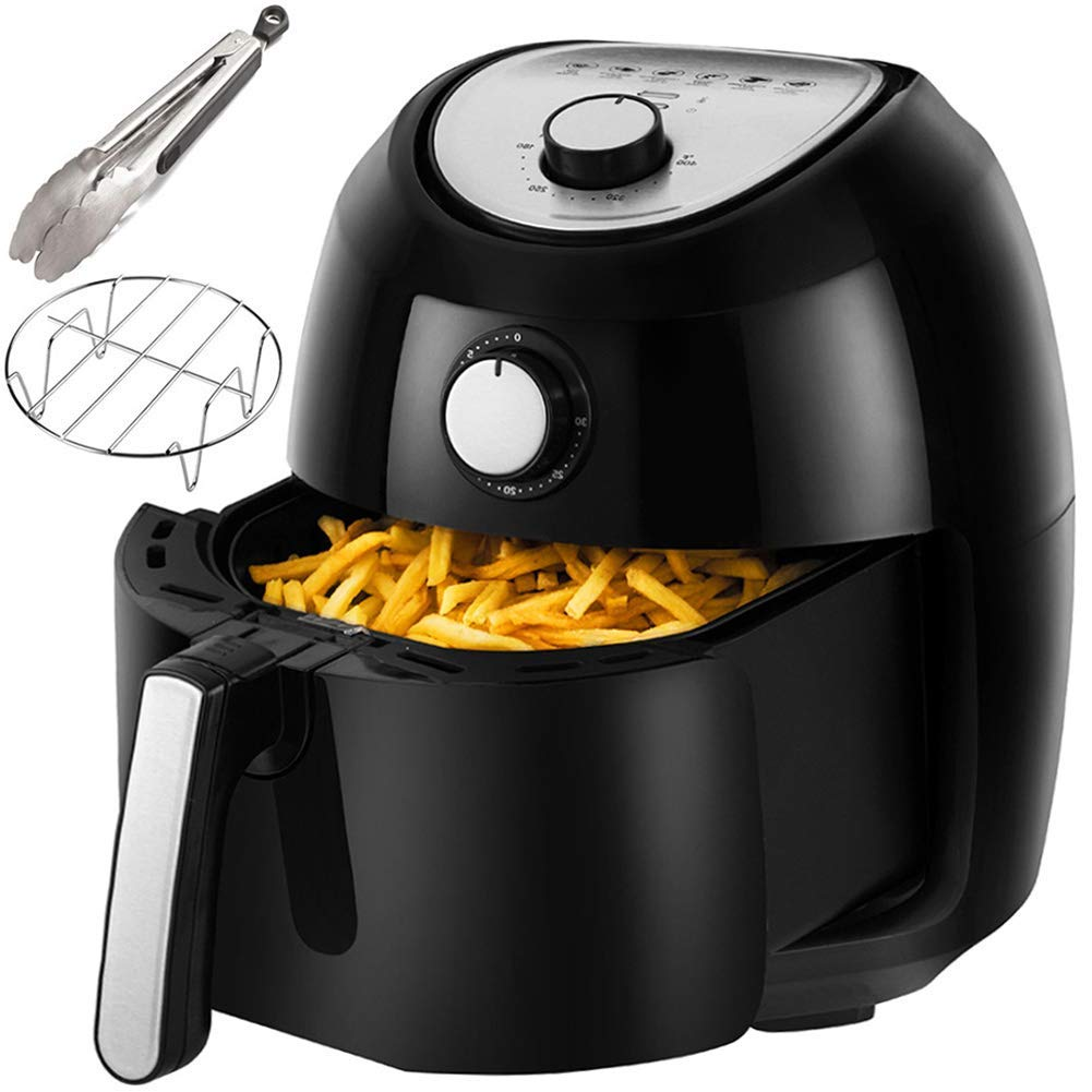 Air Fryer, 5.8 Quarts Air Fryers w/Accessories Cookbook, Grill Rack and Tongs Black