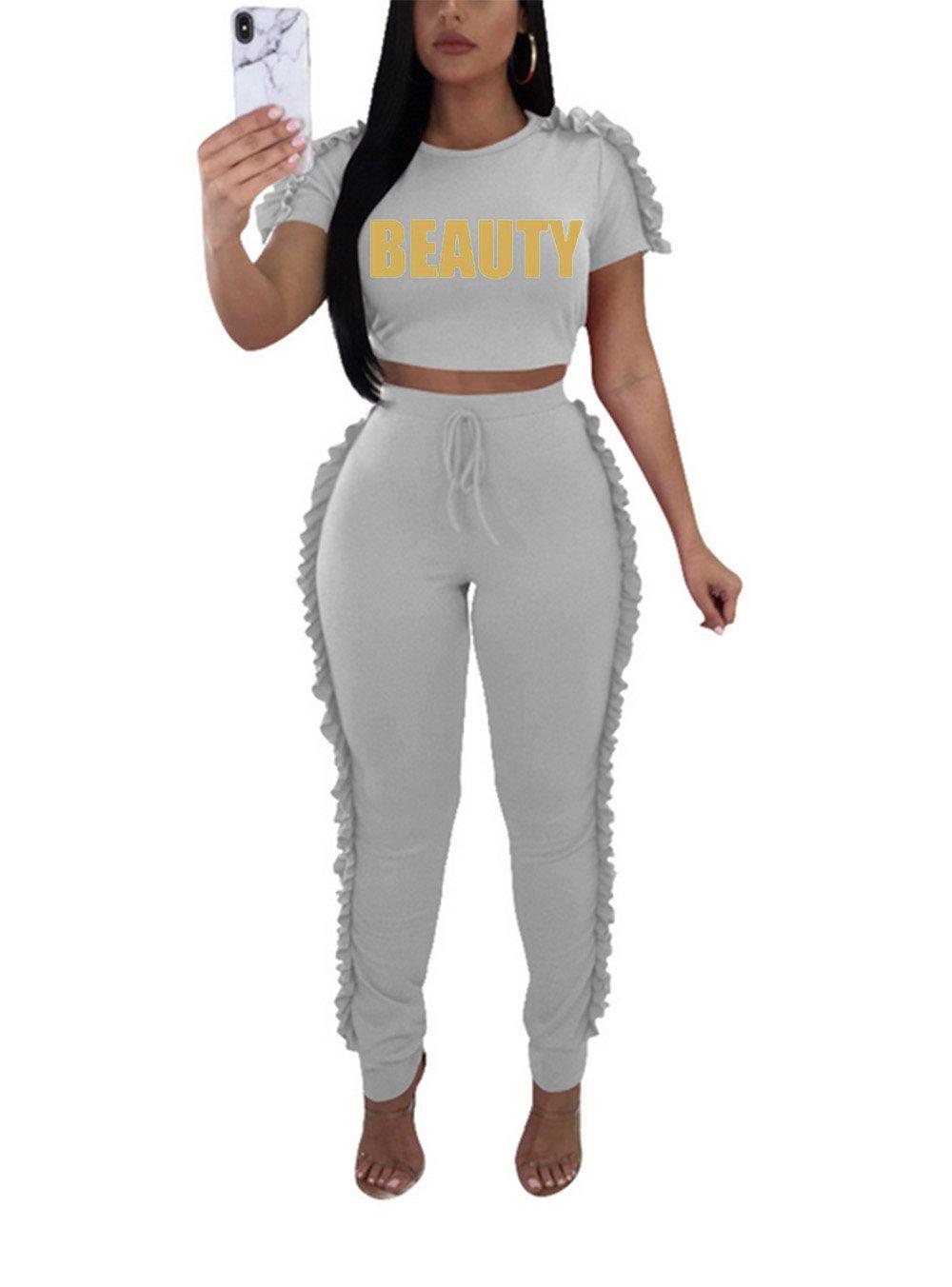 Lovelyduo Women's Short Sleeve Crop Top and Flouncing Long Pant Set Tracksuits Gray L
