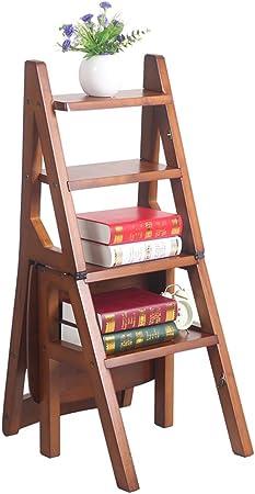 Taburetes escalera Escalera plegable para hogar multifunción para el hogar escalera de cuatro peldaños retro silla creativa de madera silla para escalera plegable de escalera, taburete para escalera p: Amazon.es: Hogar