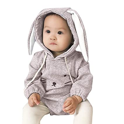 22df9ae0f3e0 DICPOLIA Toddler Coat Baby Boys Girls Clothes Long Sleeve Rabbit Hoodie  Romper Black Baby Outfit Jumpsuit