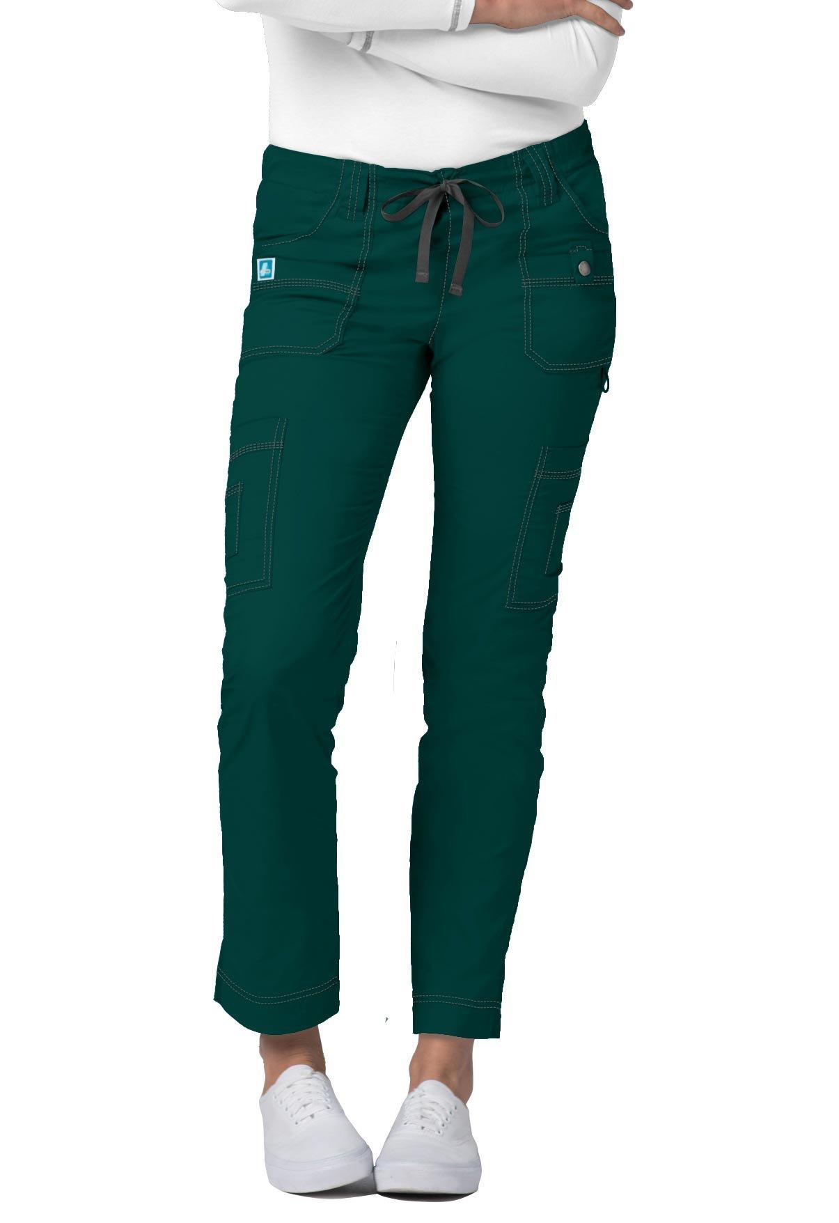 Adar Pop-Stretch Jr. Fit Low-Rise 11-Pocket Slim Cargo Pants - 3108 - Hunter Green - XXS