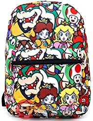 Super Mario Large School Backpack All Over Prints Book Bag Yoshi Bowser Peach