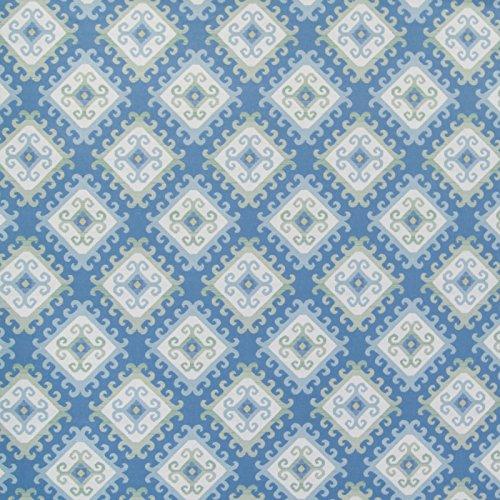 (Aegean Blue Geometric Scroll Diamond Southwest Medallion Jacquard Upholstery Fabric by the yard)