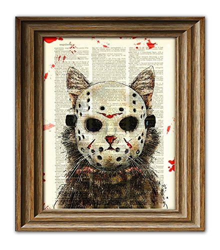 Cat Killer blood-splattered Slasher of Camp Kitty Lake Cat in hockey mask illustration dictionary page book art print -