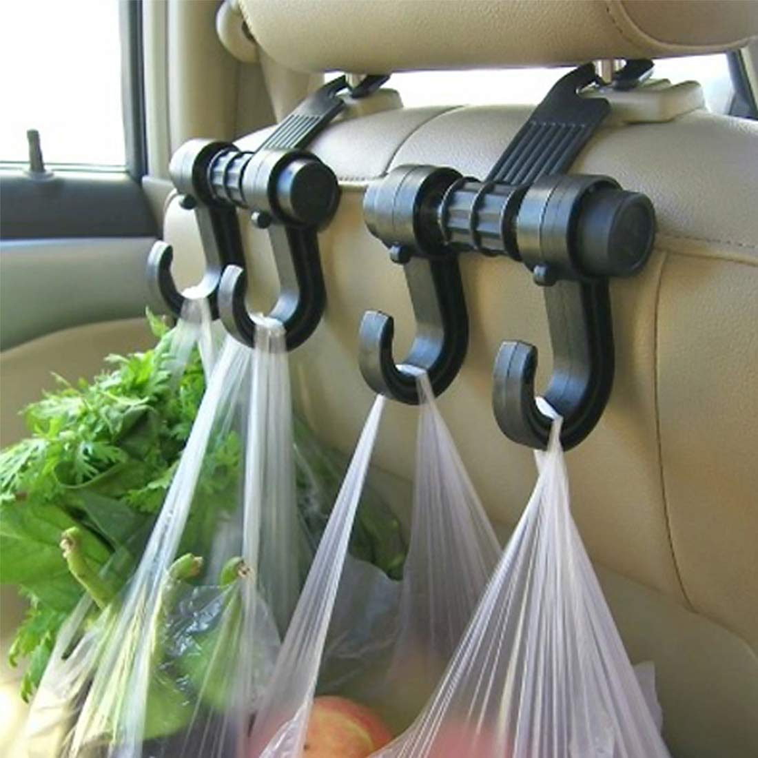 Andux Zone Double Hanger Holder Hook for Car Back Seat Head Rest Bags CYGG-01